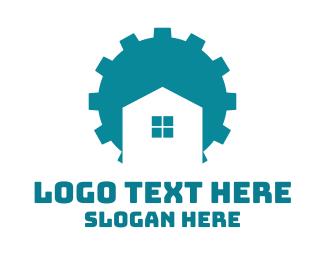 Handy Man - Blue Gear House logo design