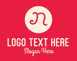 Beauty - Pink Handwritten Letter N logo design