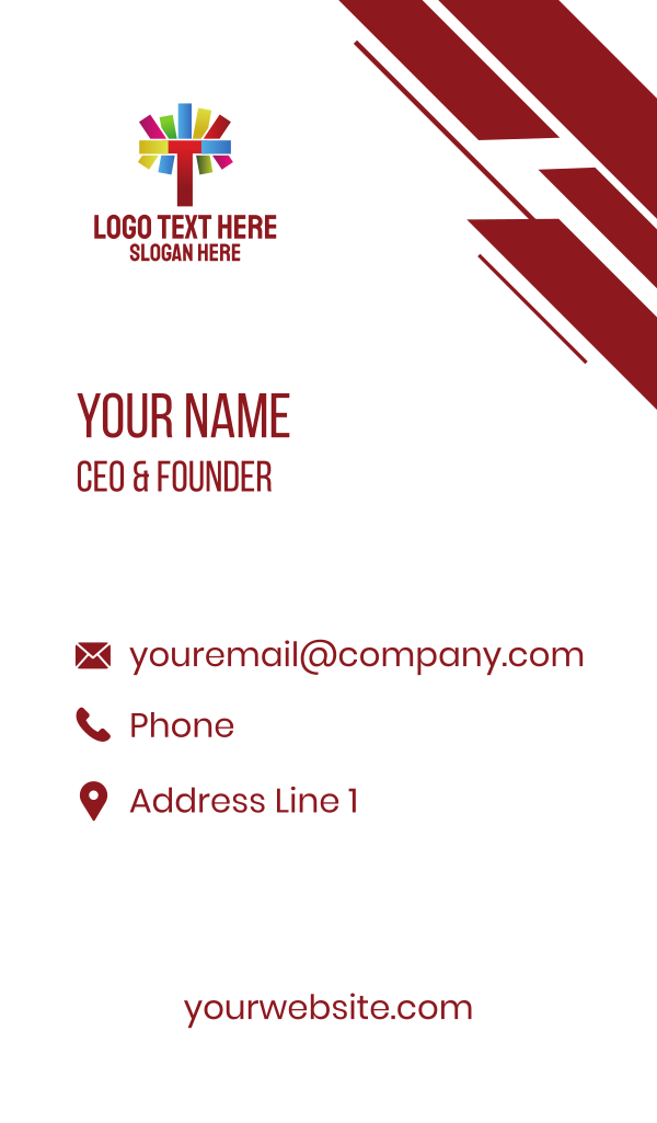 Colorful Letter T Business Card