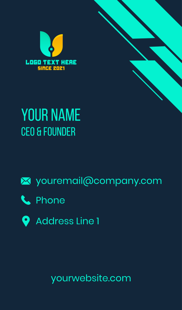 Technology Letter U Business Card