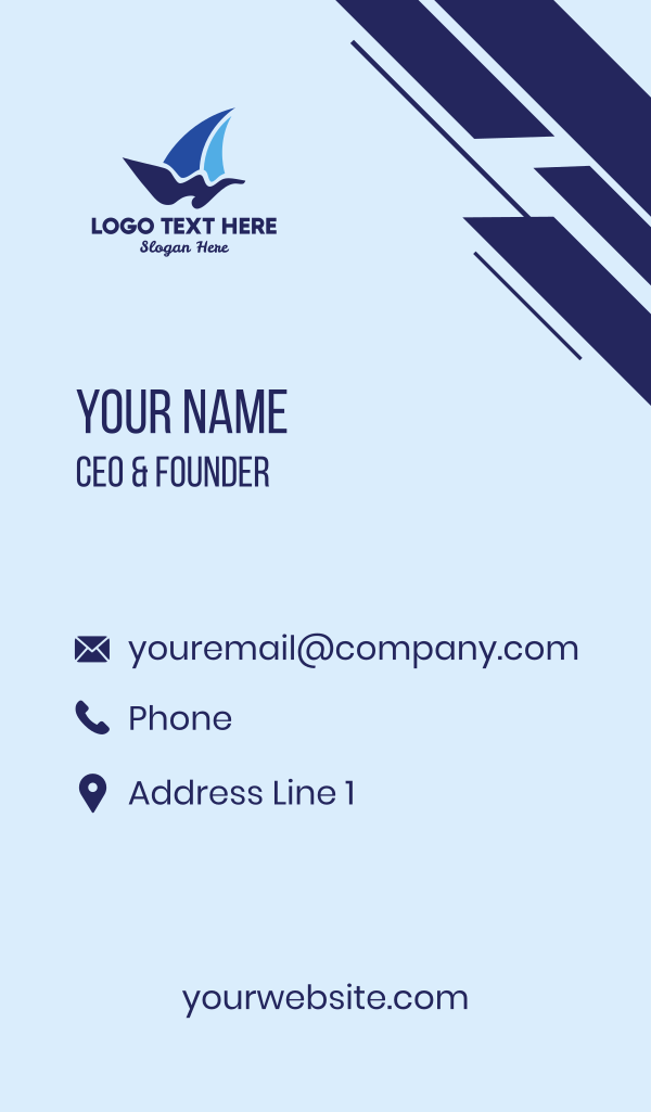 Blue Wind Waves Business Card