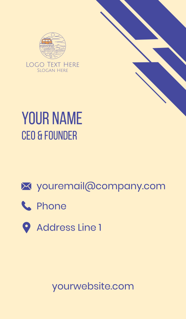 Surfer Camper Van Business Card