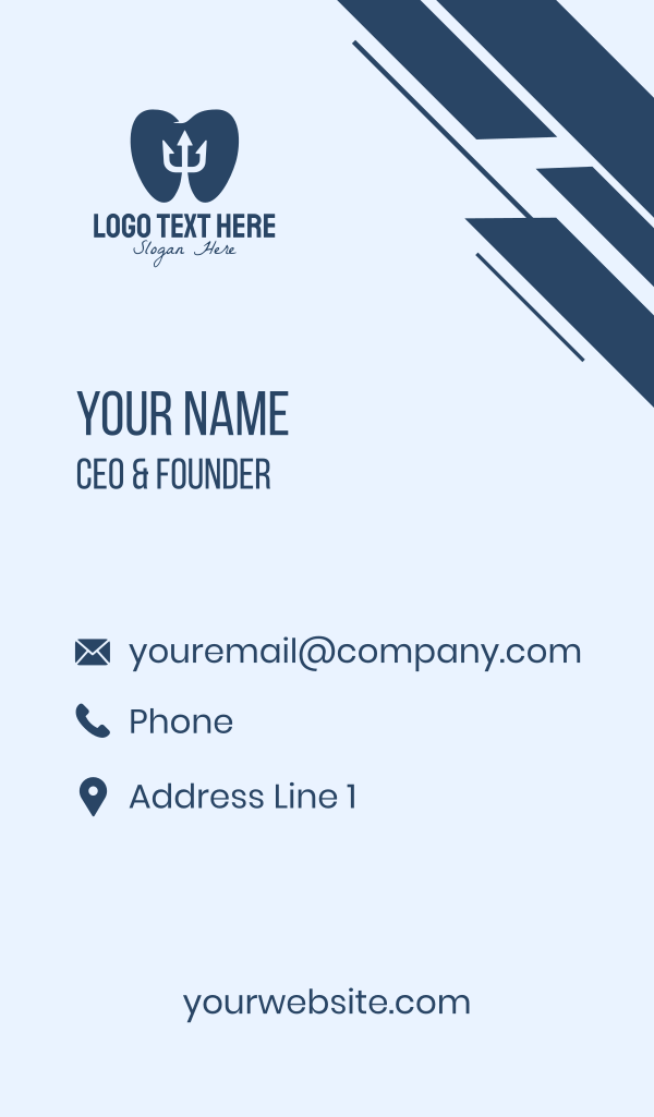 Blue Tooth Trident Business Card