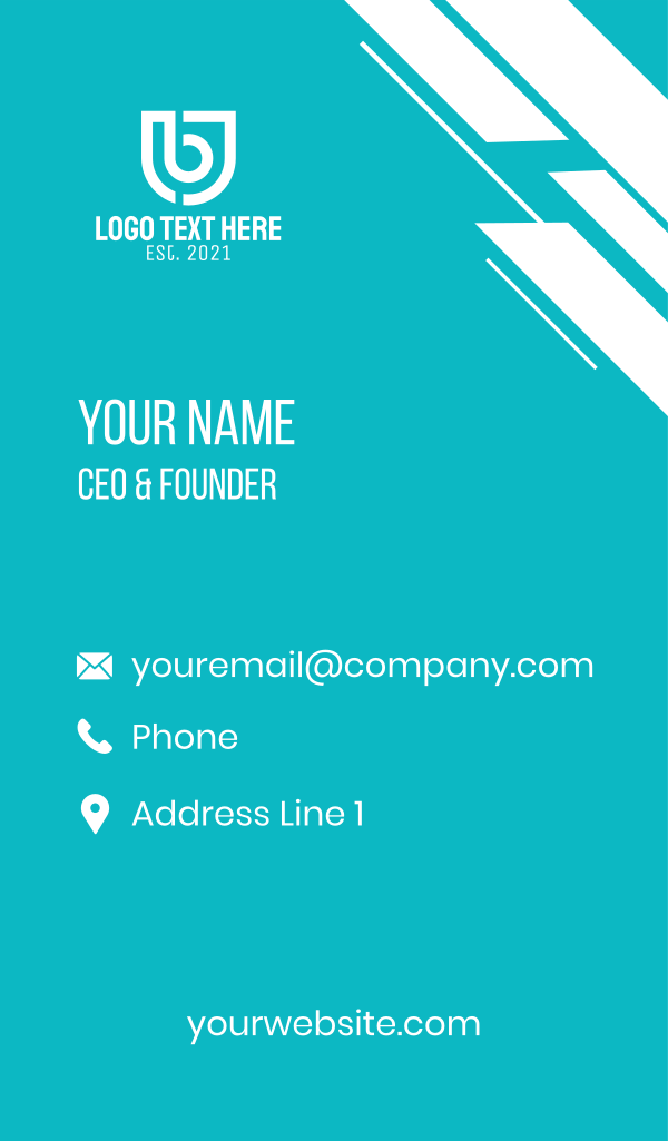 White Shield Letter B Business Card