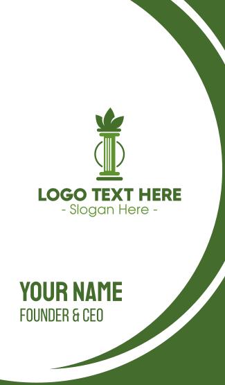 Green Cannabis Column Letter I Business Card