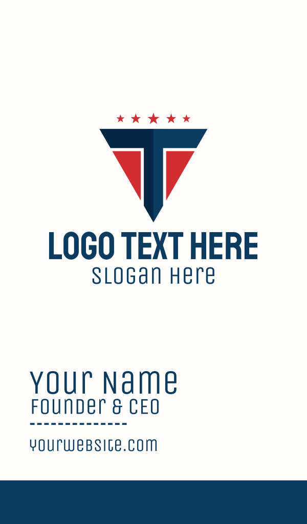 Patriotic Letter T Business Card