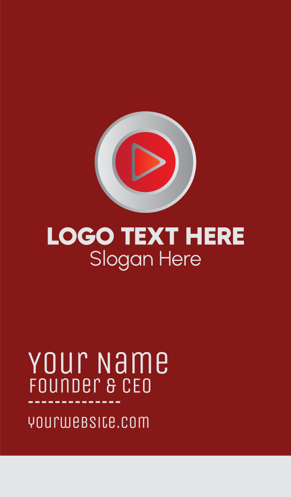 Red Media Player Button Business Card