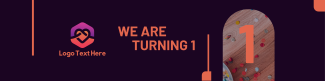We Are Turning 1 LinkedIn banner