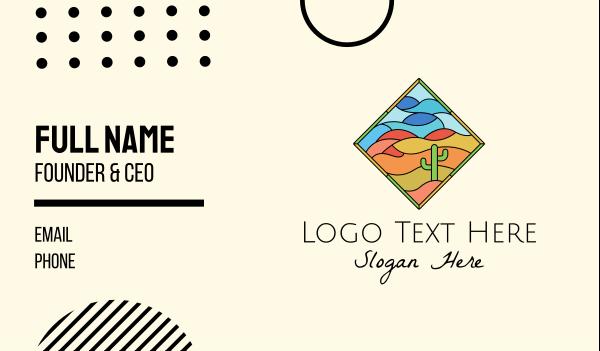 sand dunes - Desert Cactus Picture Business card horizontal design