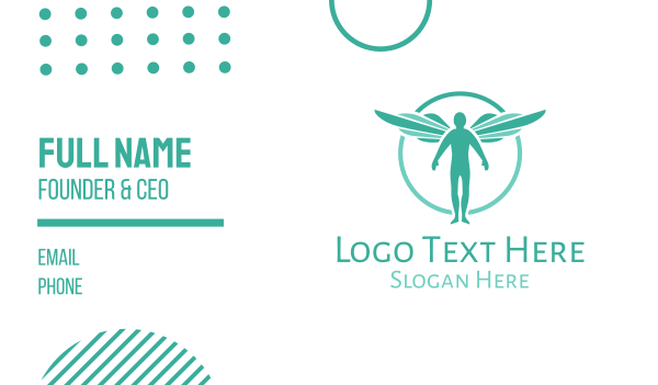 heavenly - Teal Archangel Business card horizontal design