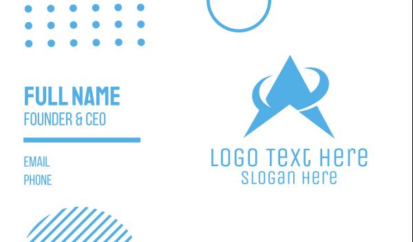 space station - Blue Geometric A  Business card horizontal design