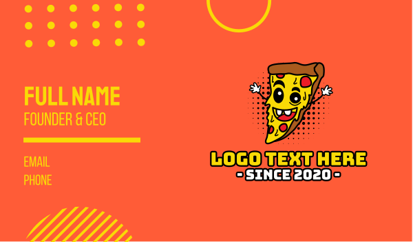 food delivery - Happy Pizza Business card horizontal design