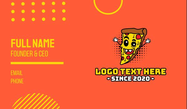 cartoon - Happy Pizza Business card horizontal design