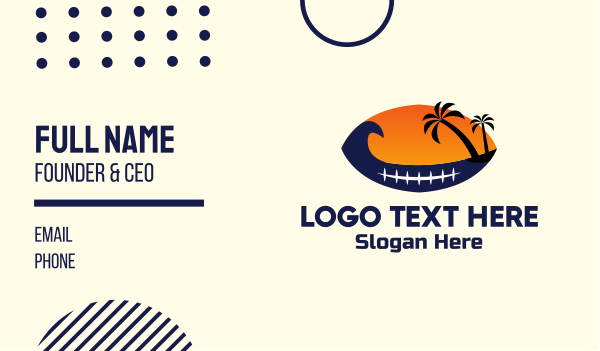 water sports - Island Football Ball Business card horizontal design