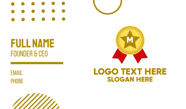 recognition - Award Lettermark Business card horizontal design