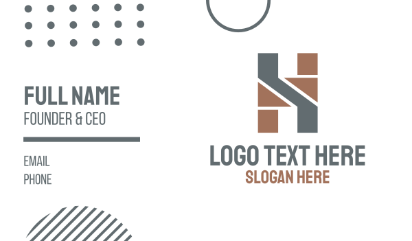 recruiter - Geometric  Masculine Letter H Business card horizontal design