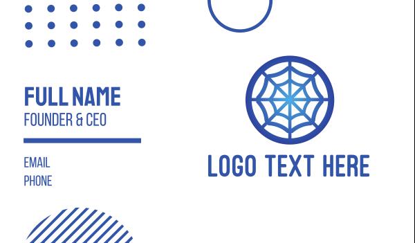 spider - Blue Web Letter O Business card horizontal design