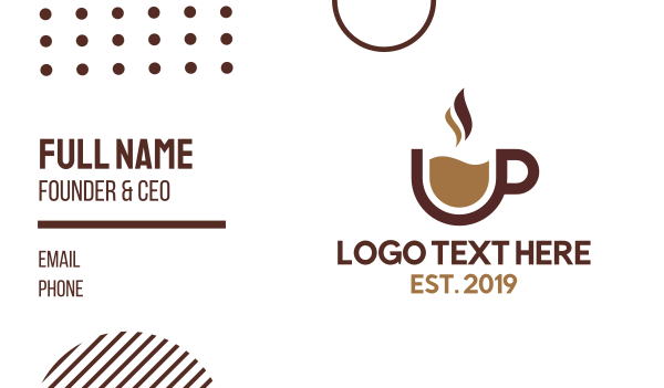 brown cup - Modern Coffee Mug Business card horizontal design