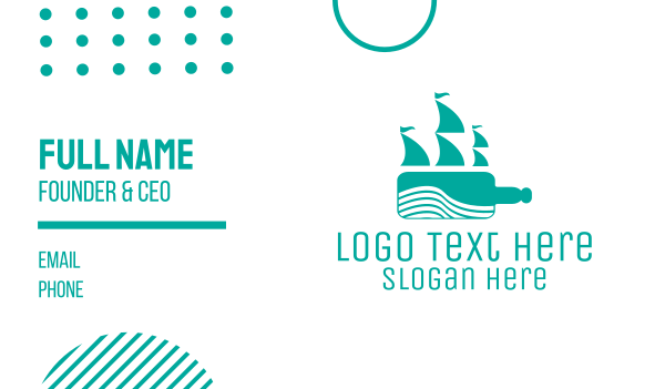 expedition - Teal Bottle Ship Business card horizontal design
