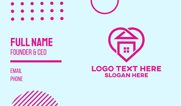 safe at home - Pink Home Heart Business card horizontal design