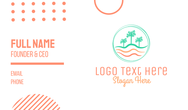 seashore - Palm Tree Wavy Beach CIrcle Business card horizontal design