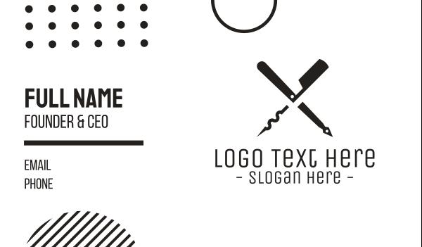 corkscrew - Monochromatic Cutting Tools Business card horizontal design