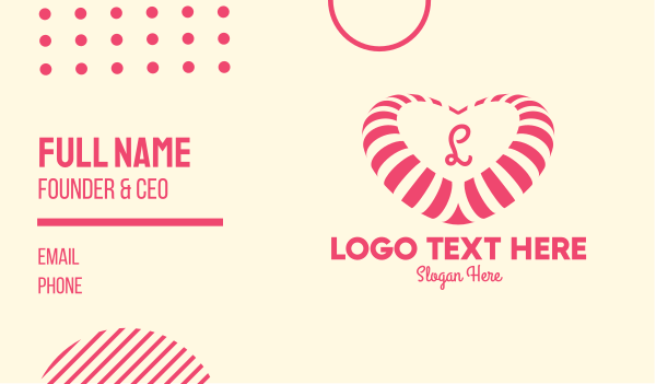 lollipop - Pink Heart Candy Lettermark Business card horizontal design