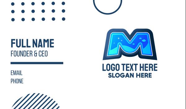 scuba diving - Aquatic Letter M Business card horizontal design