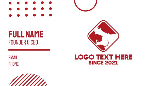 hippo - Red Hippopotamus Business card horizontal design
