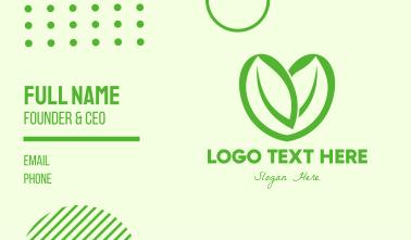 Green Eco Leaf Heart Business Card
