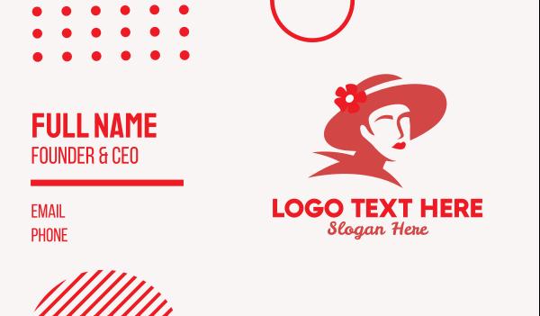 womenswear - Vintage Lady Hat  Business card horizontal design