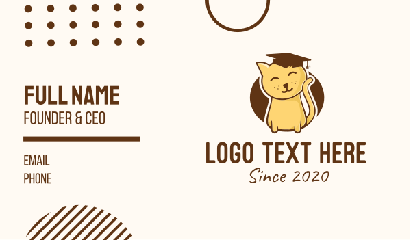 adorable - Cute Graduated Kitten Business card horizontal design
