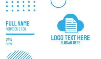Blue Cloud Document Business Card