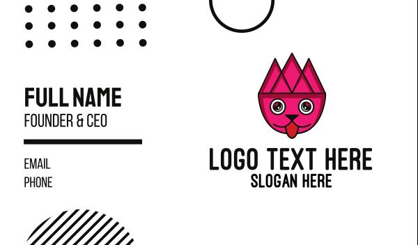 pink triangle - Geometric Pet Outline Business card horizontal design