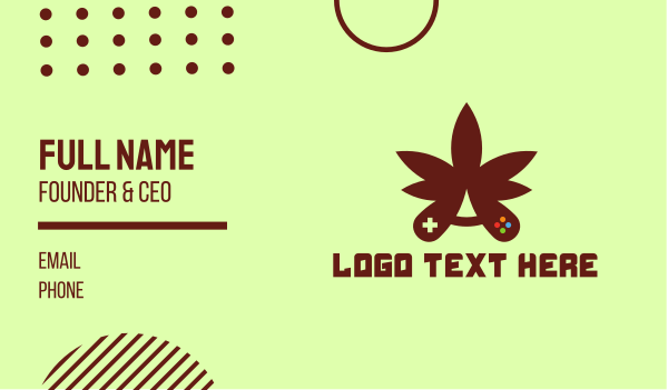 eliquid - Cannabis Leaf Game Controller Business card horizontal design