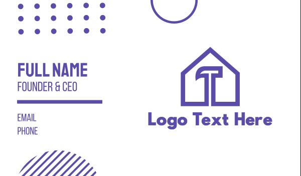 demolish - Purple Hammer House Business card horizontal design
