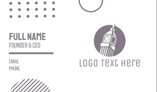 uk - Grey Big Ben Business card horizontal design