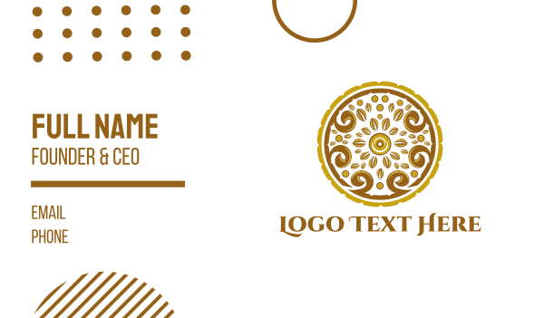bronze - Gold Floral Circle Business card horizontal design
