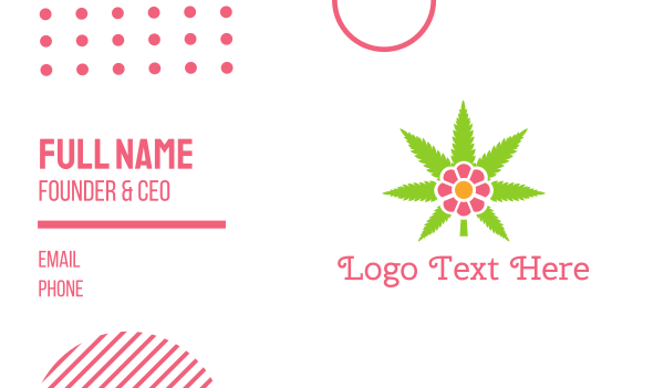 therapeutical - Cannabis Pink Flower Business card horizontal design