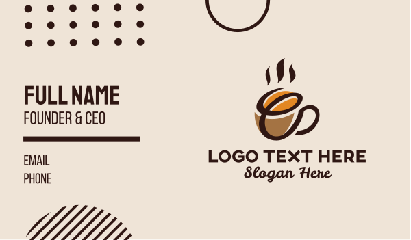 coffee farmer - Coffee Bean Cup Letter E Business card horizontal design
