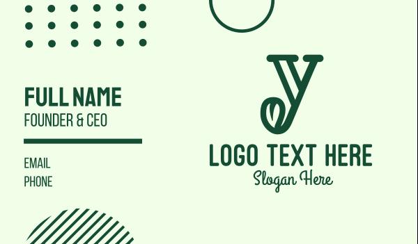 letter y - Natural Letter Y Business card horizontal design