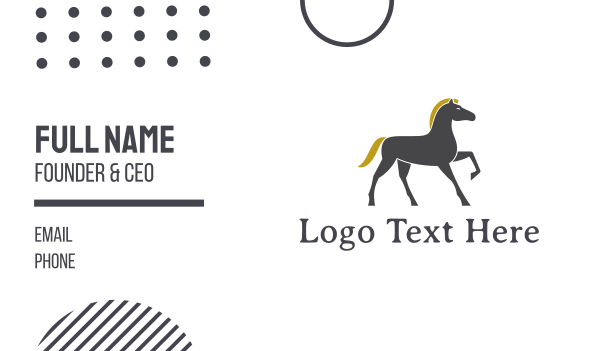 press - Golden Mane Horse Business card horizontal design