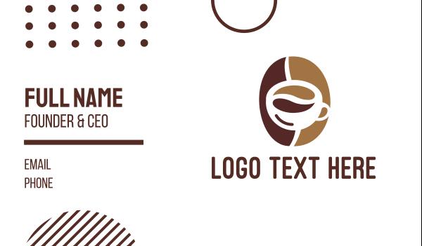 brown cup - Minimalist Coffee Bean Mug Business card horizontal design