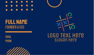 X & O Neon Lights Game Business Card