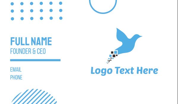 dove - Blue Pixel Bird Business card horizontal design