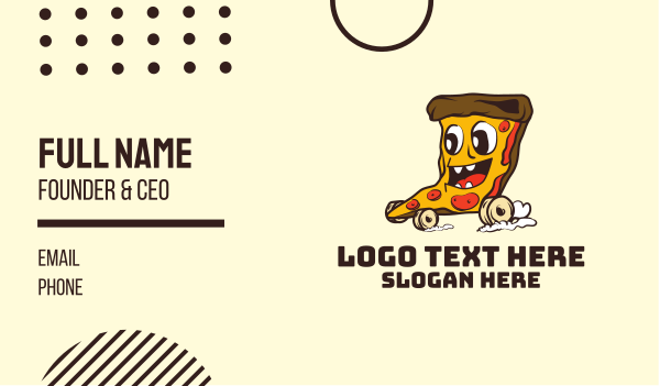 food delivery - Pizza Cartoon Delivery Business card horizontal design