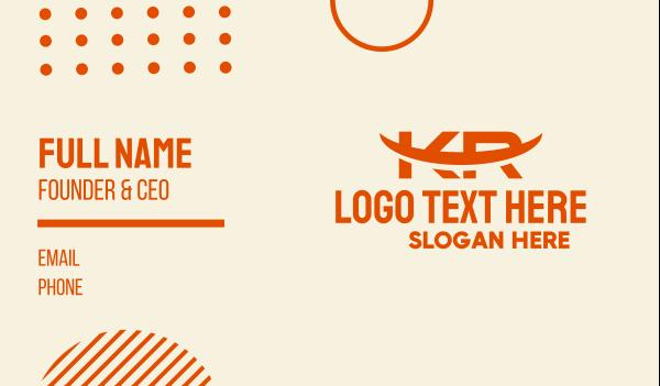 manufacturing - Orange K & R Monogram  Business card horizontal design