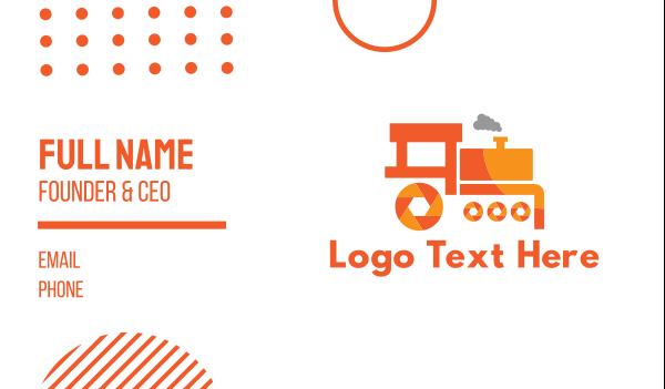 orange camera -  Shutter Train Business card horizontal design