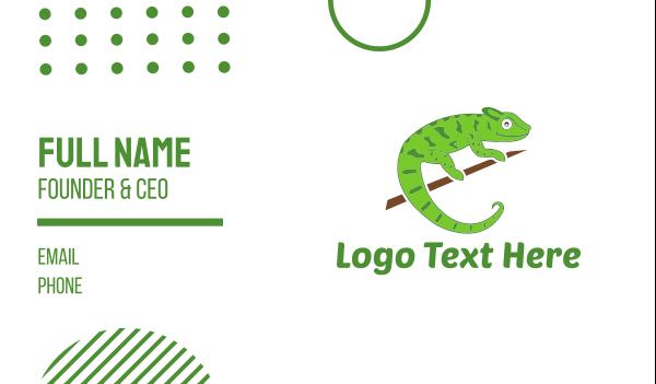 green lizard - Green Chameleon Business card horizontal design
