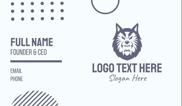 team mascot - Wild Gray Wolf Business card horizontal design
